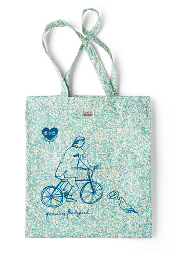 What's Not to Bike? Tote - Casual, Cotton, Blue, Tan / Cream, Novelty Print, Print, Travel, Eco-Friendly, Work