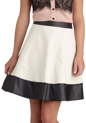 Fest of Both Worlds Skirt - Cotton, Faux Leather, Short, Cream, Solid, Party, Colorblocking, A-line, White