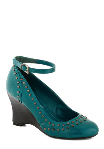 There Will Be Studs Wedge in Turquoise - Blue, Studs, Wedge, Mid, Better, Solid, Work, Faux Leather