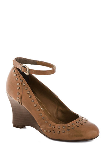 There Will Be Studs Wedge in Tan - Tan, Studs, Wedge, Mid, Better, Work, Faux Leather, Variation
