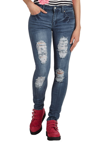 Rip-Roaring Good Time Jeans - Cotton, Denim, Blue, Solid, Pockets, Casual, Skinny, Urban, Boho, Fall