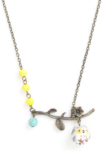 Owl-Out Fun Necklace - Print with Animals, Beads, Flower, Owls, Silver, Yellow, Blue, White, Gold, Silver
