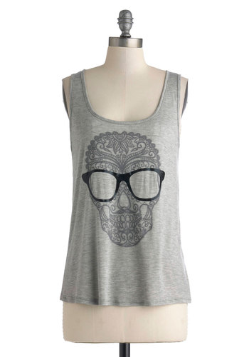 Through These Eyes Top - Jersey, Mid-length, Grey, Black, Novelty Print, Casual, Summer, Knit, Scoop, Halloween, Tank top (2 thick straps), Grey, Sleeveless