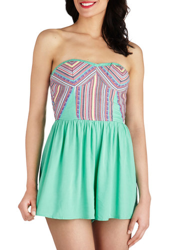 Bubble the Fun Romper in Mint - Long, Mint, Blue, Purple, Pink, Casual, Multi, Stripes, Beach/Resort, Pastel, Strapless, Summer, Sweetheart, Variation