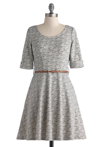 Ocean Wave Hello Dress - Tan / Cream, Print, Belted, Casual, A-line, Short Sleeves, Scoop, Blue, Pockets, Work, Fall, Mid-length