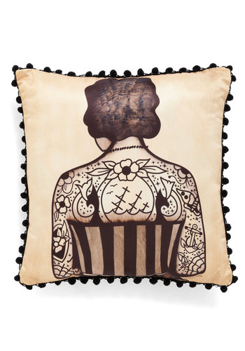 Ink Differently Pillow - Tan, Black, Novelty Print, Trim, Vintage Inspired, Dorm Decor, Urban