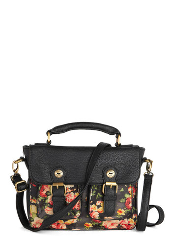 Florist of Nature Bag by Darling - Faux Leather, Black, Multi, Floral, Buckles, Better, International Designer, Vintage Inspired, Work