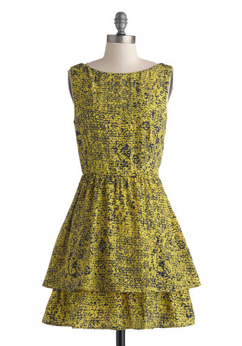 Scene in Sedona Dress - Short, Yellow, Print, Tiered, Party, A-line, Sleeveless, Good, Blue, Boat