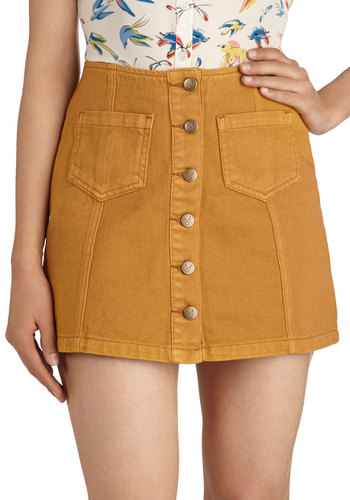 Honey on My Mind Skirt by Mink Pink - Tan, Solid, Buttons, Pockets, Casual, Vintage Inspired, 70s, Mini, Cotton, Denim, Short, Fall