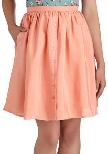 Peach Perfect Skirt - Pink, Solid, Buttons, A-line, Mid-length, Pockets, Daytime Party, Pastel, Spring