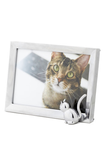 Posed Paws Photo Frame - Silver, Solid, Print with Animals, Dorm Decor, Cats, Good, Under $20