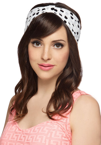Poolside Polka Dots Headband - White, Black, Polka Dots, Summer