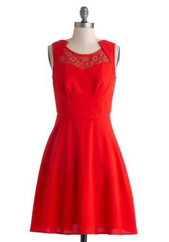 Keep Currant Dress - Sheer, Mid-length, Red, Lace, Party, A-line, Sleeveless, Better, Solid, Cocktail, Holiday Party