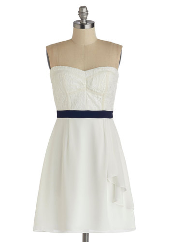 Chamomile Flower Dress - Short, White, Black, Lace, Ruffles, Wedding, Party, Bride, Empire, Strapless, Better, Sweetheart