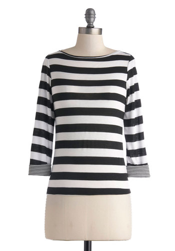 Mods and Rock Stars Top - Multi, Black, White, Stripes, Casual, Mod, Boat, Fall, Exclusives, Mid-length, Knit, 3/4 Sleeve, Black, 3/4 Sleeve