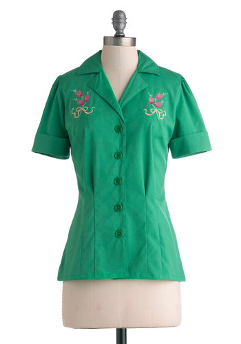 Drive-In Diner Top in Thistles by Myrtlewood - Green, Solid, Buttons, Embroidery, Short Sleeves, Collared, Casual, Rockabilly, Vintage Inspired, 50s, 60s, Exclusives, Mid-length, Private Label, Green, Short Sleeve