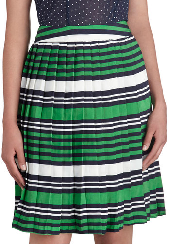School Day After Day Skirt - Mid-length, Green, Stripes, Pleats, Work, A-line, Daytime Party, Scholastic/Collegiate, Woven, Green