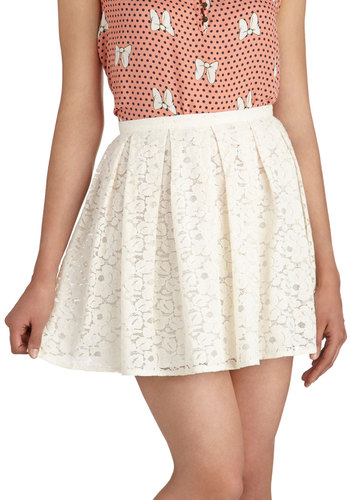 Almond or Nothing Skirt - Cream, Solid, Lace, Pleats, Daytime Party, A-line, Short, Spring, Summer