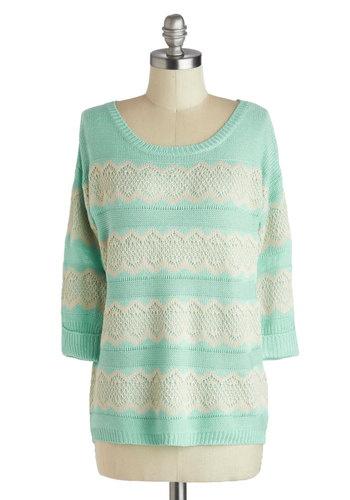 Snuggly Saturday Sweater - Mid-length, Mint, Tan / Cream, Stripes, Crochet, Casual, Pastel, 3/4 Sleeve, Scoop, Green, 3/4 Sleeve