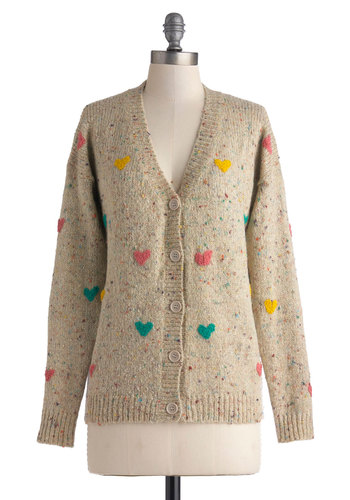 Love of Teaching Cardigan - Mid-length, Tan, Multi, Knitted, Casual, Long Sleeve, Fall, Valentine's, Brown, Long Sleeve, Better