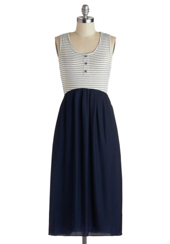 Portsmouth Authority Dress - Grey, White, Stripes, Buttons, Casual, Nautical, Twofer, Tank top (2 thick straps), Scoop, Long, Pockets, Good, Blue, Summer