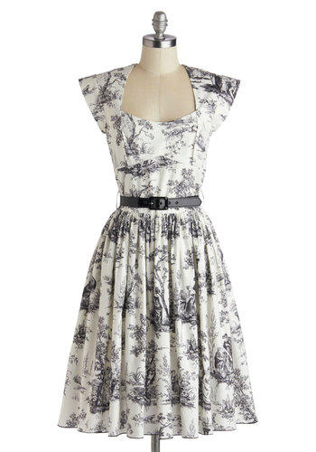 Eiffel Power Dress in Toile by Bernie Dexter - Cotton, Black, Floral, Pockets, Belted, A-line, Cap Sleeves, Better, Woven, Long, White, Daytime Party