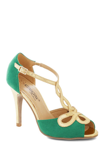 Samba to Talk About Heel - High, Faux Leather, Green, Gold, Cutout, Special Occasion, Prom, Cocktail, Luxe, Good, Peep Toe, Solid, Wedding, Party, T-Strap