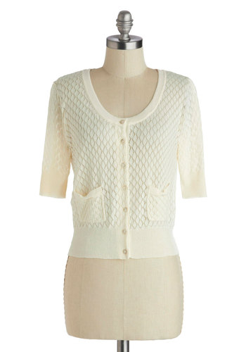 Sweet the Day Cardigan in Ivory - Short, Cream, Solid, Buttons, Pockets, 3/4 Sleeve, Knitted, White, 3/4 Sleeve, Spring, Social Placements