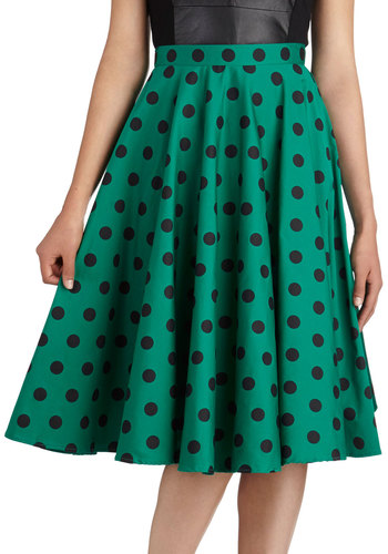 Dance and Swing Skirt in Emerald - Cotton, Long, Green, Black, Polka Dots, Party, Pinup, Vintage Inspired, A-line, Fit & Flare, International Designer, Rockabilly, 50s, Work
