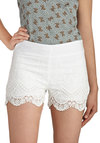 Flit and Flutter Shorts - Cotton, White, Solid, Crochet, Beach/Resort, Scallops, Daytime Party, Summer, Boho