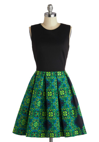 Event Plan for Success Dress in Ivy - Mid-length, Green, Blue, Black, Pleats, Party, Fit & Flare, Sleeveless, Better, Print, Pockets, Variation, Crew