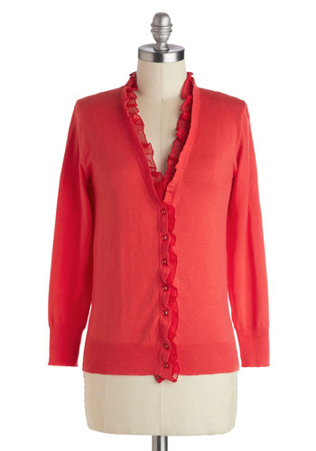 Belle of the Mall Cardigan - Mid-length, Red, Solid, Buttons, Ruffles, Long Sleeve, Work, Fall, Red, Long Sleeve, Top Rated