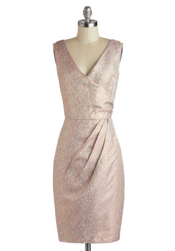 Setting Off Sparkles Dress by Louche - Vintage Inspired, Long, Pink, Multi, Ruching, Party, Sheath / Shift, Sleeveless, V Neck, Print, Wedding, Cocktail, Luxe, Pastel