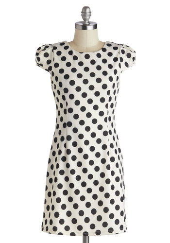 Ain't Life Grand Prix Dress - Short, Black, Polka Dots, Shift, Cap Sleeves, Good, Crew, White, Mini, Party, Work
