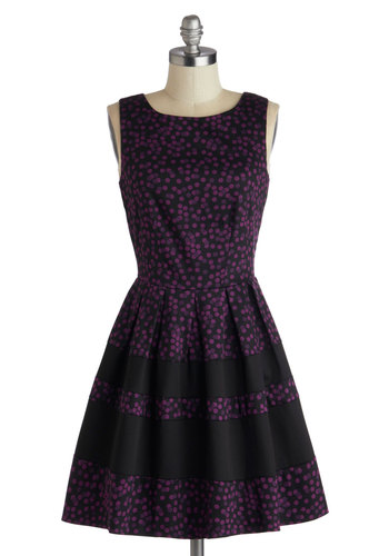 A Dreamboat Come True Dress in Purple Dots - Mid-length, Purple, Black, Polka Dots, Pleats, Party, A-line, Sleeveless, Better, Scoop, Exposed zipper, Cocktail, Fit & Flare, Cotton