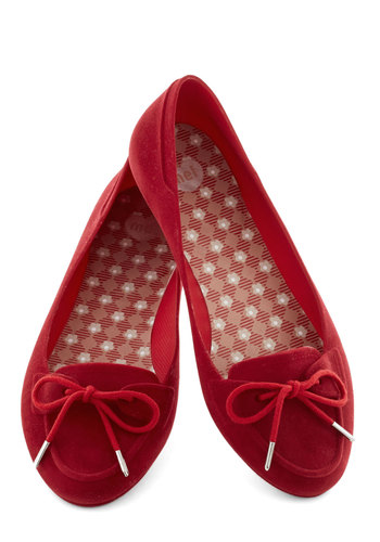 Cherry Nice to Meet You Flat by Mel Shoes - Red, Silver, Solid, International Designer, Casual, Menswear Inspired, Flat, Good