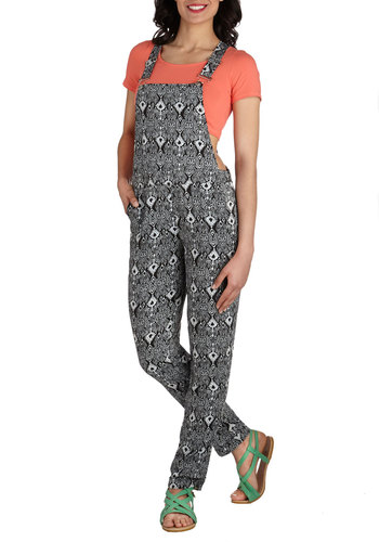 Showcase Set-up Overalls - Long, Black, White, Print, Pockets, Casual, Fall