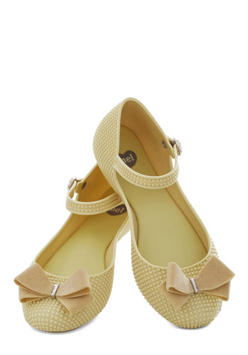 Looks Like Sun Flat by Mel Shoes - Yellow, Solid, Bows, International Designer, Flat, Good, Fairytale, Pastel