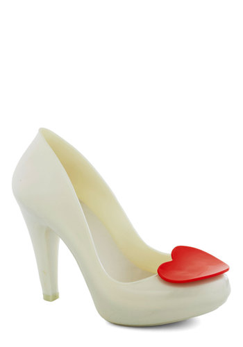 Shoe of Hearts Heel in Pearl by Mel Shoes - Cream, Red, Solid, International Designer, High, Party, Girls Night Out, Bride, Variation
