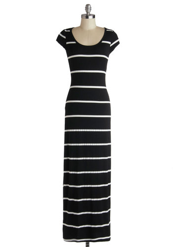Jersey Shoreline Dress - Long, Black, White, Stripes, Casual, Maxi, Cap Sleeves, Good, Scoop, Knit, Fall