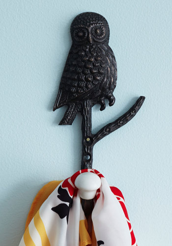 Wise on the Prize Wall Hook - Black, Owls, White, Solid, Print with Animals, Dorm Decor, Good, Halloween, Folk Art