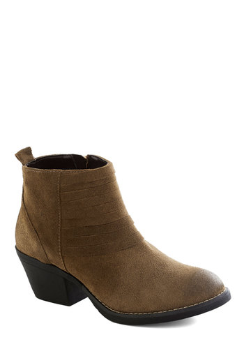 Subdued It Up Boot - Tan, Solid, Pleats, Boho, Mid, Chunky heel, Leather, Suede, Better, Fall