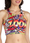 Pros and Comics Top - Multi, Red, Yellow, Blue, Casual, Tank top (2 thick straps), Short, Novelty Print, Girls Night Out, Cropped, Summer, Scoop, Statement