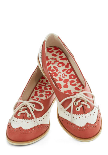 Amalgam of the Year Flat in Coral - Coral, White, Menswear Inspired, Flat, Lace Up, Good, Faux Leather, Variation, Top Rated