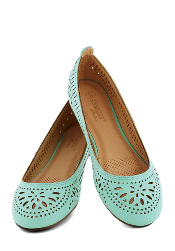 Haute of Doors Flat in Sky - Flat, Faux Leather, Blue, Solid, Cutout, Boho, Fairytale, Pastel, Good, Casual, Variation