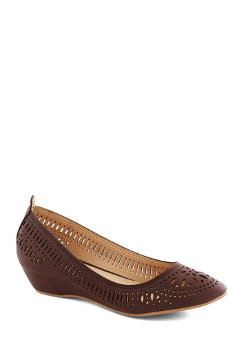 Haute of Doors Wedge in Earth - Low, Brown, Solid, Cutout, Work, Good, Wedge, Vintage Inspired, Faux Leather, Variation
