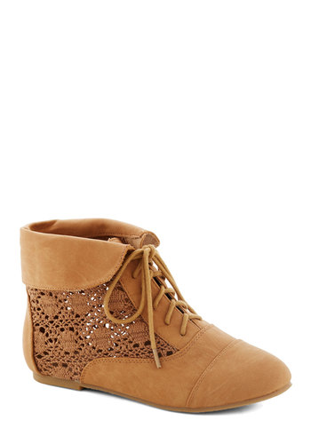 Seasons of Lovely Bootie in Caramel - Tan, Solid, Crochet, Flat, Lace Up, Faux Leather, Good, Casual, Boho, Variation, Fall