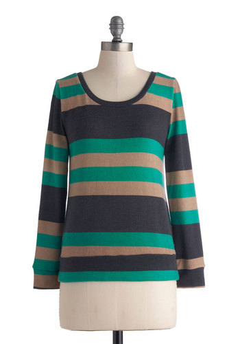 Movie Night In Sweater - Mid-length, Multi, Green, Brown, Tan / Cream, Stripes, Casual, Long Sleeve, Cutout, Knit, Scoop, Fall, Green, Long Sleeve