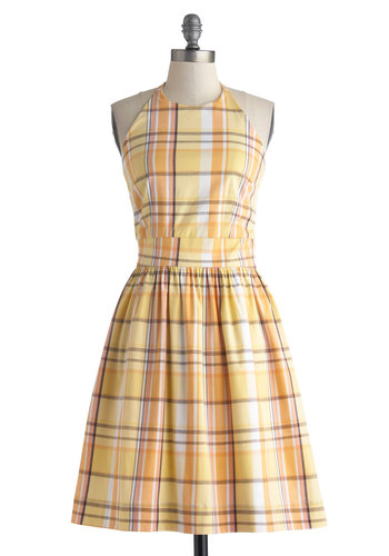 Stroke of Luxe Dress in Plaid - Mid-length, Yellow, Multi, Plaid, Pockets, Casual, A-line, Halter, Good, Daytime Party, Vintage Inspired, Summer, Cotton, Woven, Variation, Exclusives