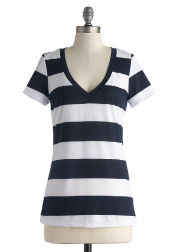Broad Strokes Tee - Mid-length, Multi, White, Stripes, Casual, Short Sleeves, V Neck, Blue, Nautical, Multi, Short Sleeve